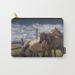 Western Horses in the Pasture by a Wooden Fence Carry-All Pouch