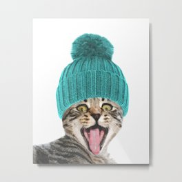 Cat with hat illustration Metal Print