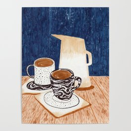 Coffee for Two Drawing by Amanda Laurel Atkins Poster