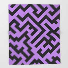 Black and Lavender Violet Diagonal Labyrinth Throw Blanket