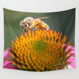 honeybee on cone flower 656 Wall Tapestry