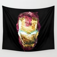 ironman Wall Tapestries featuring IRONMAN HEAD by DITO SUGITO