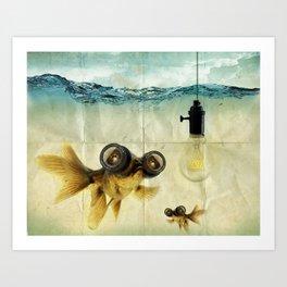 Fisheye Lens Goldfish Art Print