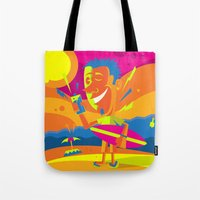 surfer Tote Bags featuring Surfer by Roberlan Borges