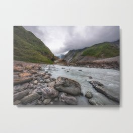 Franz Josef Glacier Valley Perspective View from Waiho River in New Zealand Metal Print