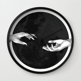 Lovers, hands on the black moon Wall Clock
