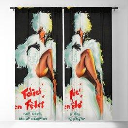 """Vintage Paris """"Folies Bergère"""" Opera House in the 9th Arrondissement Advertisement Poster Blackout Curtain"""