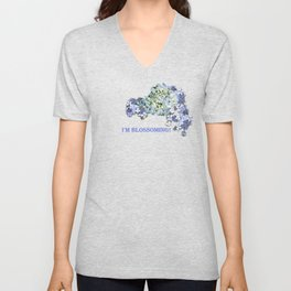 Billowing Blush in Blue Unisex V-Neck
