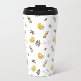Seamless pattern with lemon slices and spices Travel Mug