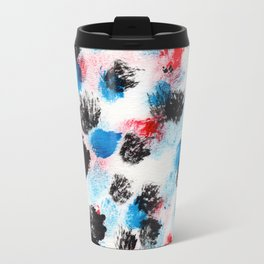 Messy Dot Pattern (Black, Red & Blue) Travel Mug