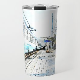 Agropoli: traveler with suitcase in the rail station Travel Mug