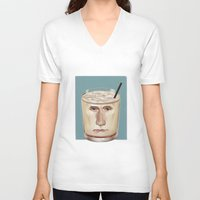 russian V-neck T-shirts featuring White Russian by Powersimon