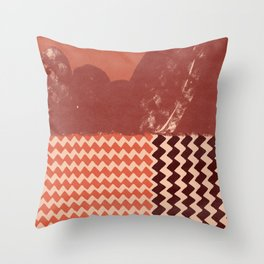 Abstraction in terracotta and maroon  Throw Pillow