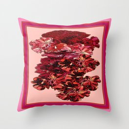 Cranberry-Pink Color Floral Brown Pattern Throw Pillow