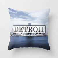 detroit Throw Pillows featuring Detroit Typography by Evan Smith