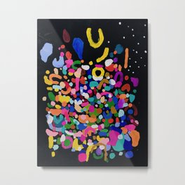 Original Abstract Painting by Ejaaz Haniff Rainbow Rain At Night Metal Print