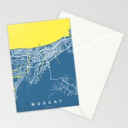 Muscat City Map - Oman | Blue | More Colors, Review My Collections Stationery Cards