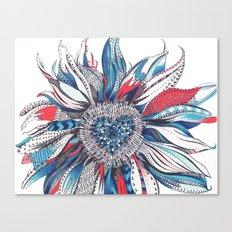 Flower Patterns on White Canvas Print