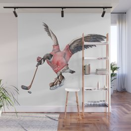 Canada Goose Playing Hockey Wall Mural