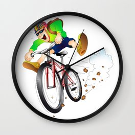 Mountain biker racing down the slope Wall Clock