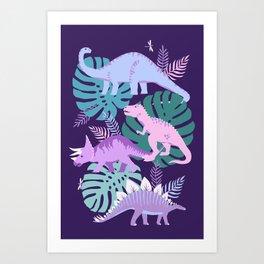 Jungle Dinosaur - Purple Art Print