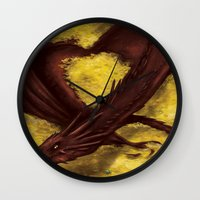 smaug Wall Clocks featuring Smaug by toibi