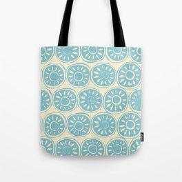 flower block blue ivory Tote Bag