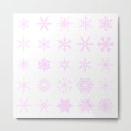 Pink Snowflakes Background Metal Print