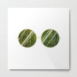 Olive Univese Glasses Metal Print