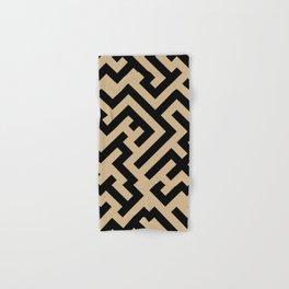 Black and Tan Brown Diagonal Labyrinth Hand & Bath Towel