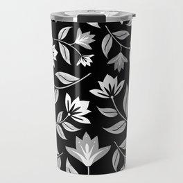 Modern Black and White Floral Print Travel Mug