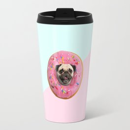 Pug Strawberry Donut Travel Mug
