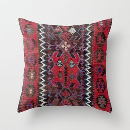 Obruk Konya Turkish  Antique Kilim Rug Print Throw Pillow