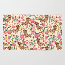 Dapple cream Dachshund doxie floral florals dog breed gifts for pupper must haves Rug