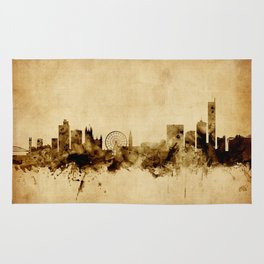 Manchester England Skyline Rug