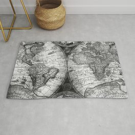 World Map Antique Vintage Black and White Rug