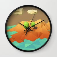low poly Wall Clocks featuring Low Poly Landscape by error23