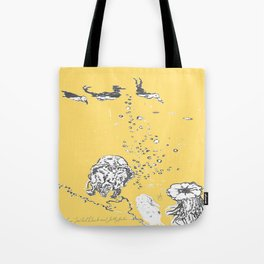 Two Tailed Duck and Jellyfish Pale Yellow Mellow Tote Bag