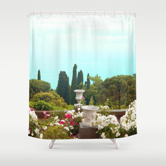 sea view from the park Shower Curtain