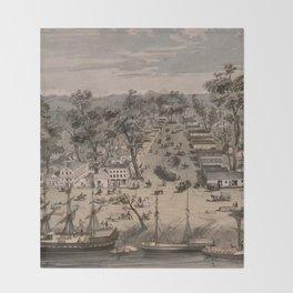 Vintage Pictorial Map of Sacramento (1850) Throw Blanket