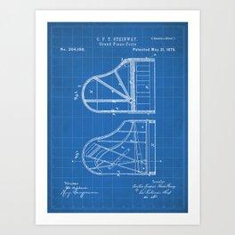Steinway Grand Piano Patent - Piano Player Art - Blueprint Art Print
