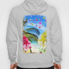 Tropical Beach and Exotic Plumeria Flowers Hoody