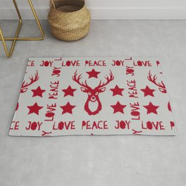 Love Peace Joy Deer Knitted Pattern Rug
