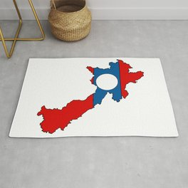 Laos Map with Laotian Flag Rug