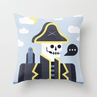 men Throw Pillows featuring Dead Men Tell No Tales by Chase Kunz