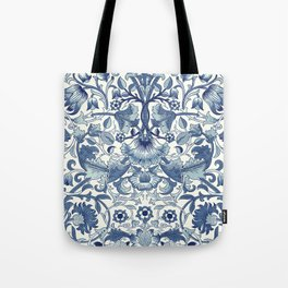 William Morris Navy Blue Botanical Pattern 1 Tote Bag