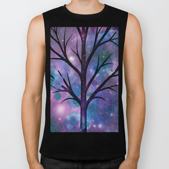 Tree in a fairy-like blue lilac sparkle spring night Biker Tank