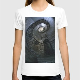 Spiral Staircase in blue and gray tones T-shirt