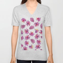 Pink violet yellow watercolor hand painted peonies pattern Unisex V-Neck