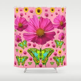 PINK COSMO FLORALS GREEN MOTHS SUNFLOWERS Shower Curtain